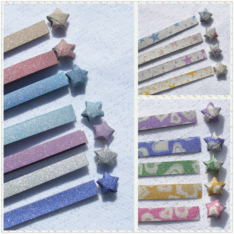 Glitter Shiny Thick Sand Lucky Star Folding Origami Paper, US SELLER!