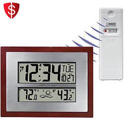 Atomic Clock Temperature Weather Forecast Indoor Outdoor Date Digital Wireless