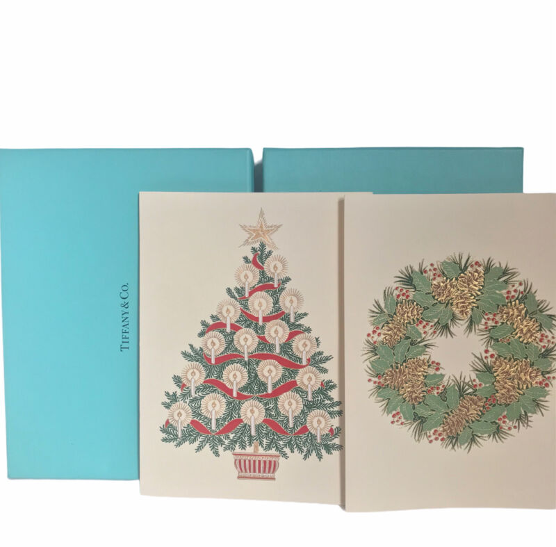 Tiffany & Co Christmas Cards 2 Boxes 16 Cards Total Christmas Tree Wreath 2006