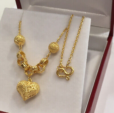 24k Solid Gold Beautiful Hearts Dangle Chain/ Necklace 16 Inches. 7.60 Grams