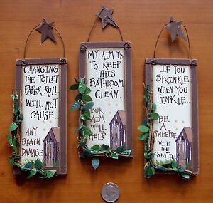 3 Outhouse Wood Primitive Bathroom Signs Wall Decor With Hangers Rustic Stars