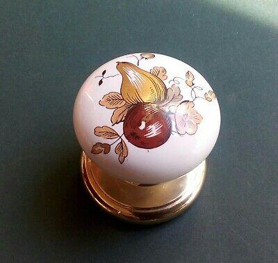 Vtg Porcelain Knob White Brown Bright Gold Rosette Closet Cupboard Door