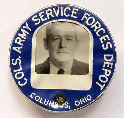 WWII 1940's COLS. ARMY SERVICE FORCES DEPOT employee badge pinback Home Front +