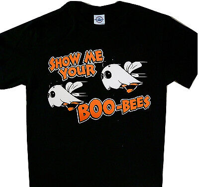 NEW! Halloween Costume Party T-Shirt Black Show me your Boo-Bees Boobies Boobs - Boobs Halloween Costume