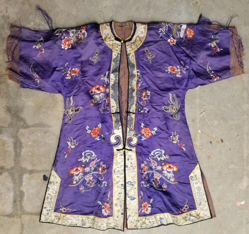 Antique Chinese Silk Embroidred Purple Robe Butterfly Floral Decoration