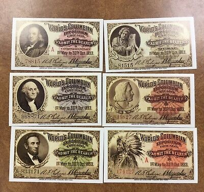 {BJ STAMPS}  Chicago 1893 Columbian Exposition Admission Tickets (1992 Reprints)