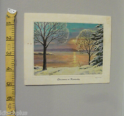 Vtg Bright of America Kentucky Lake Christmas Card Brian Harper Artist 60's