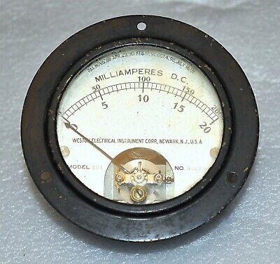 Weston Electrical Model 301 Panel Meter Dc Milliamperes 0-20 0-200 Ma Vintage