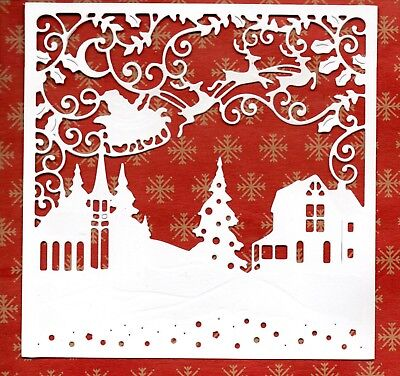 NEW LARGE SANTA OVER TOWN  SCENE FRAME DIE CUTS -EMBOSSED CHRISTMAS TOPPER