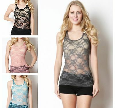 Floral Sheer Lace Layer Sexy Racerback Scoop Neck Sleeveless Stretch Tank Top - Floral Scoop Neck Top