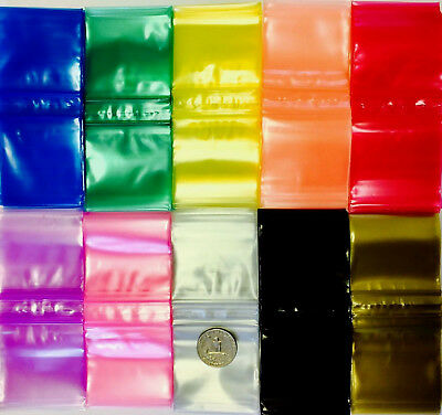 3mil 2020 1000 10 Colors Mix Or Choose Mini Zip Lock Colored Bags 2 X 2 Dime