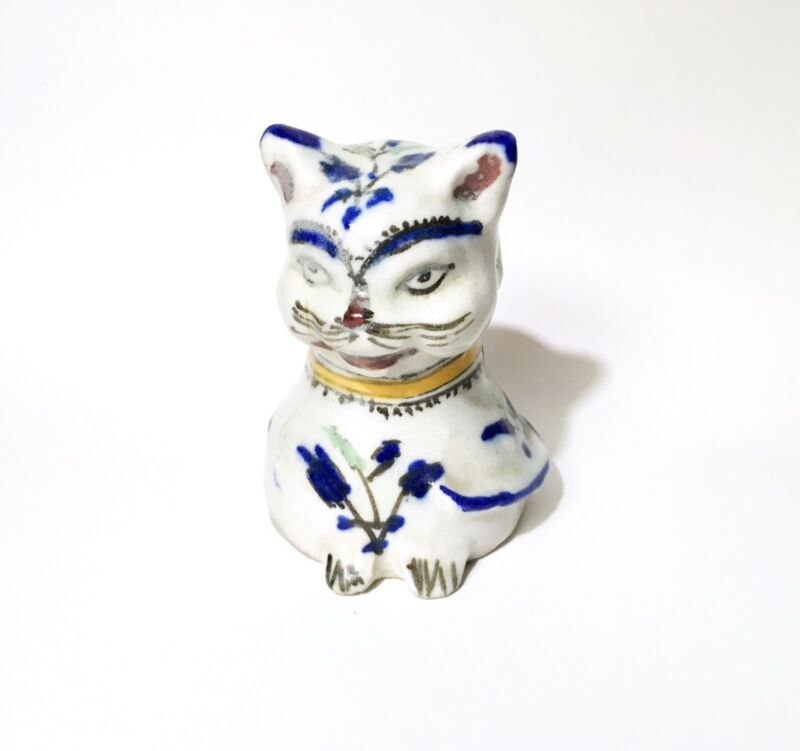 Cute Vintage / Antique Qajar Pottery Cat Figurine, Early 20th C. Persian 5""