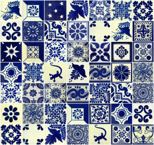 50 4x4 Mexican Ceramic  Tiles  Blue & White Mixed Patterns