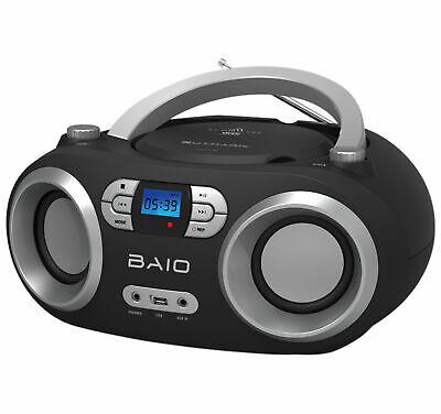 OUTMARK BAIO CD-PLAYER RADIO BLUETOOTH USB KOPFHÖREREINGANG  SCHWARZ KINDER, gebraucht gebraucht kaufen  Heikendorf