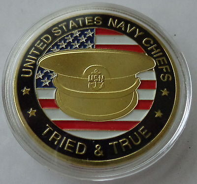 USA ARMY   Navy chiefs     24K GOLD  PLATED Challenge coin   MEDAL