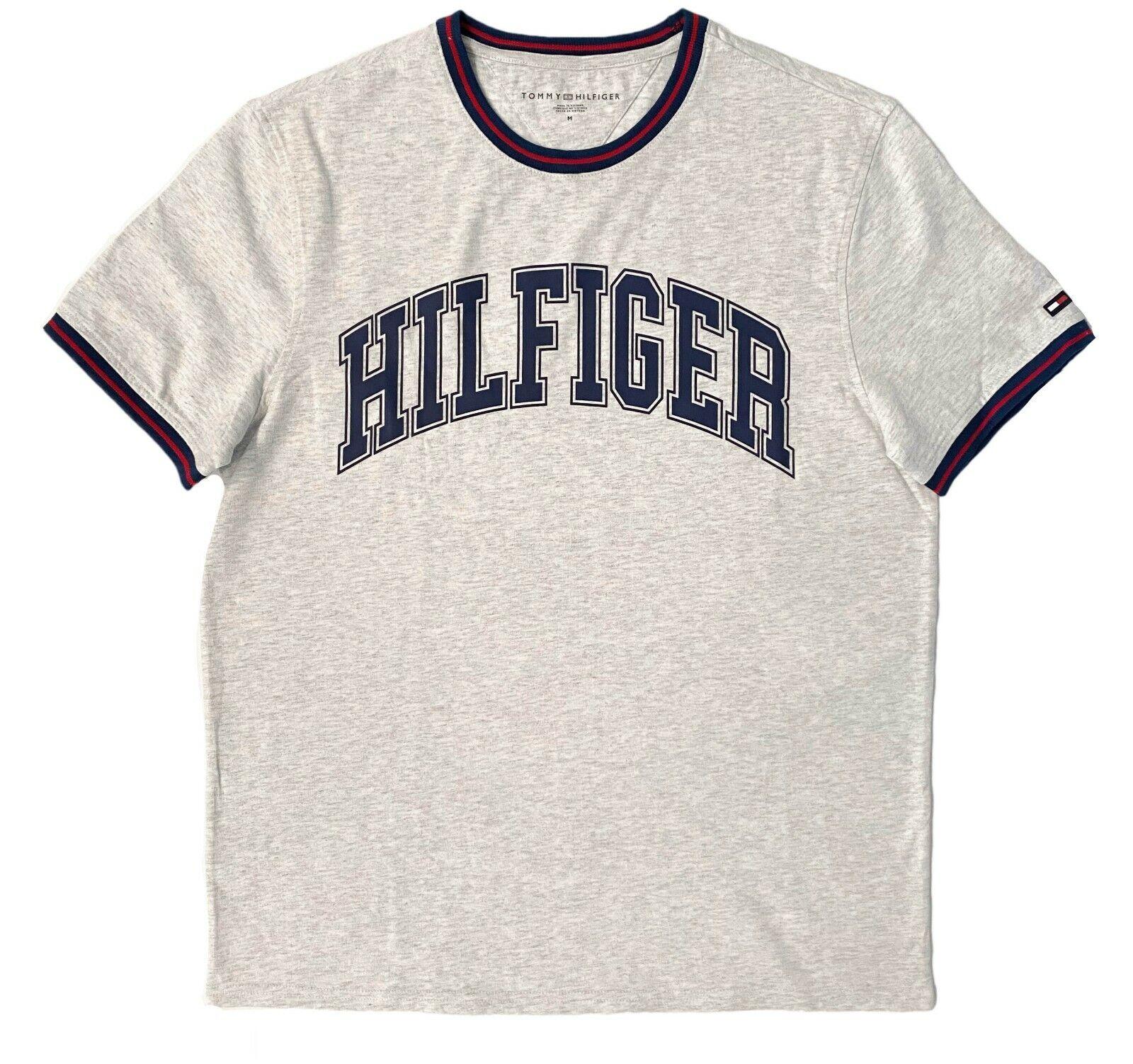 Mens Tommy Hilfiger Logo Print T-Shirt Red Navy Blue Grey Tee NEW - $15.00