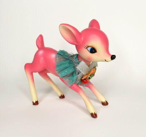 Hobby Lobby Pink Deer Fawn Figurine Retro Christmas Holiday Decor Nostalgia