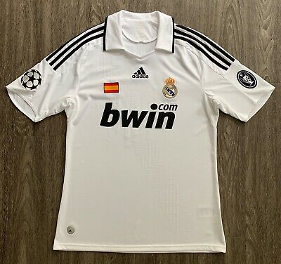 Adidas 2008/09 Real Madrid Sergio Ramos UCL Home Jersey M shirt spain patch BOH9 09 Home Jersey