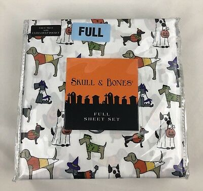 Skull and Bones Full Extra Deep Pocket Fitted Sheet Set Dogs Halloween - Skull And Bones Halloween