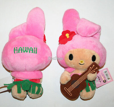 """6"""" MY MELODY Hawaii Pink Bunny Rabbit Suntan Hula Ukulele Girl Plush San Rio  for sale  Shipping to Canada"""