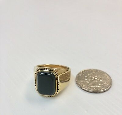 Vintage Gold Stainless Steel Mens Genuine Black Onyx Ring Size 11, Anillo Hombre - Genuine Onyx Mens Ring