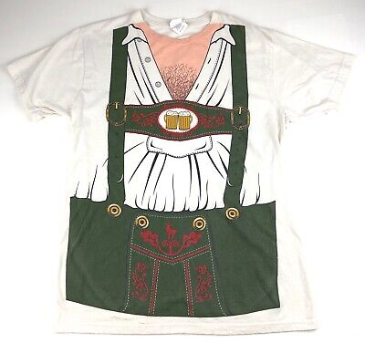 Octoberfest Men's Beer Drinking German Outfit T-shirt Lederhosen Funny Sz Large