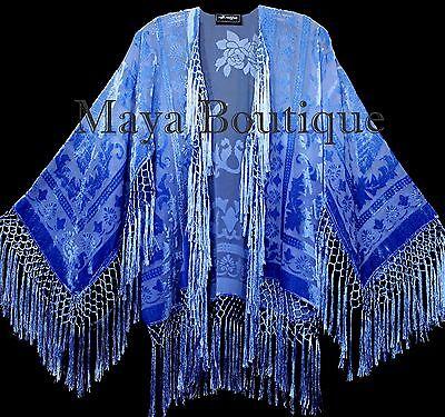 Wearable Art Blue Ombre Velvet Kimono Jacket Hand Dyed Short Maya Matazaro