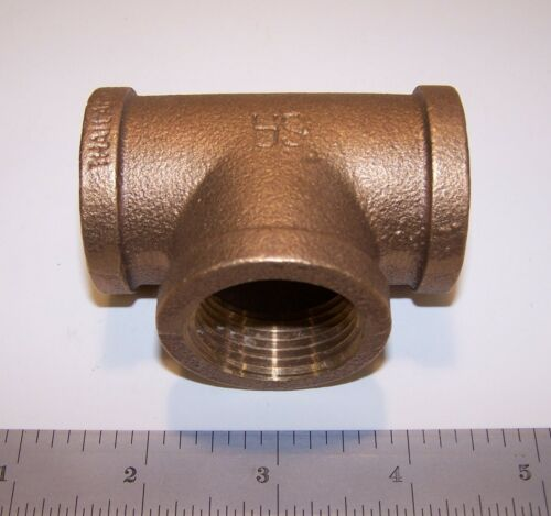 """SA Red Brass Tee, 1"""" Female NPT Pipe Fitting, Class 125"""
