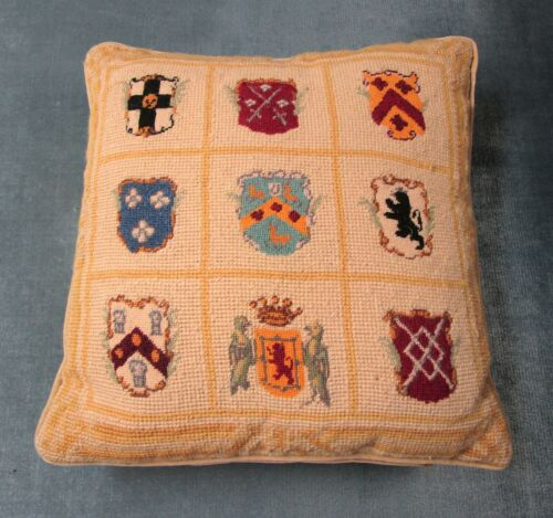 Antique Needlepoint Square Pillow Heraldic Coats of Arms Colorful Excellent