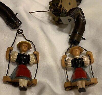Vintage Swiss/German Cuckoo Wall Clock Lady On Swing +Works For Repair/Restore