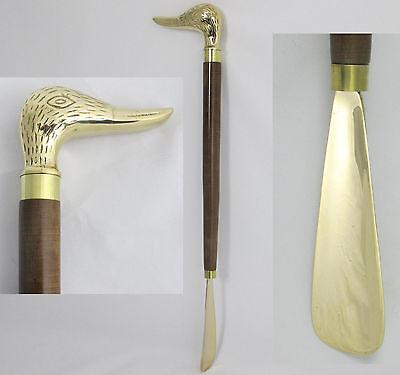 Schuhlöffel Schuhanzieher Messing Enten Griff extra Lang 48 cm Rückenschoner NEU