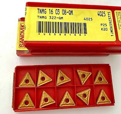 Sandvik Carbide Inserts - Tnmg 16 03 08-qm 322 4025 P25 K20 - Qty.10 - New