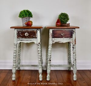 Pair of antique shabby chic night stands/side tables