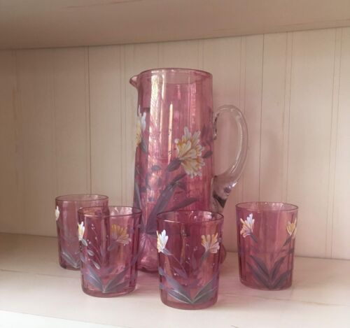 Victorian Art Glass Cranberry Lemonade or Water Pitcher and 4 Glass set