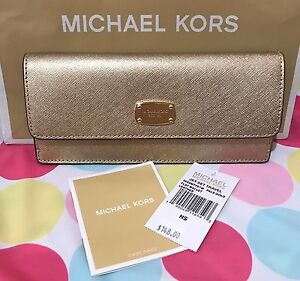 4ced1af32f1f0a NEW AUTHENTIC MICHAEL KORS Jet Set Travel Flat Saffiano Leather Wallet Pale  Gold
