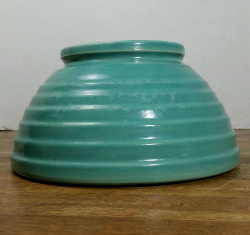Rare Bauer #12 Footed Mixing Bowl Aqua,Turquoise
