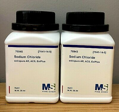 Sodium Chloride Crystals Acs 99 Certified 1kg Grams Nacl - 2x500g Bottles
