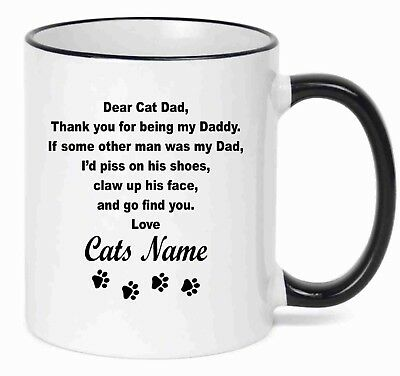 Name Coffee - Personalized Coffee Mug  Dear Cat DAD Funny Mug With Your Cat's  Name