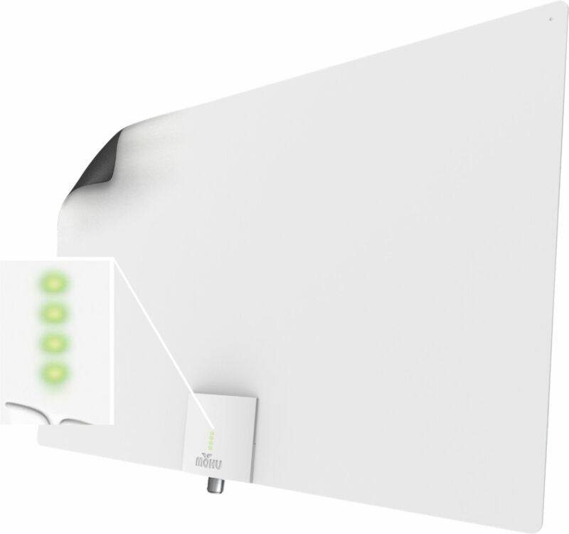 Mohu - Leaf Supreme Pro Indoor Amplified HDTV Antenna - Black/White
