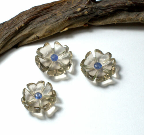 Natural Smoky Quartz Flower Carved With Blue Sapphire Beads Drilling Gemstone