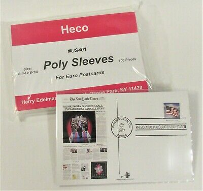 """100 CONTINENTAL POSTCARD POLY SLEEVES, HECO #US401, 3 MIL THICK 4-1/4"""" x 6-1/8"""""""