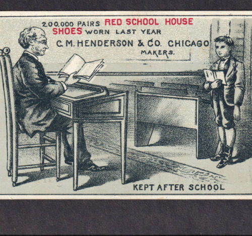 19th Century One-Room School House Teacher Henderson Shoe Ad Card Grangeville ID