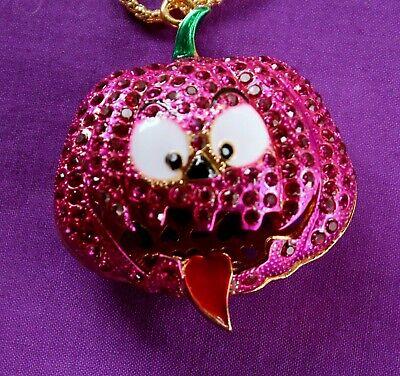 Betsey Johnson Pumpkin Pink Jack O Lantern Pendant Necklace Halloween NWT](Betsey Johnson Halloween Necklace)