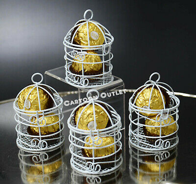 Bird Cages Decor (12 WEDDING QUINCEANERA FAVORS SMALL WHITE METAL BIRD CAGES PARTY)