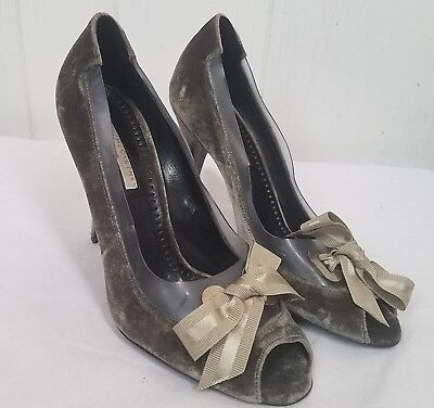 Stella McCartney Black Velvet & PVC Trim Bow Peep Toe High Heel Pumps SZ 93 Bow Velvet High Heel Pumps