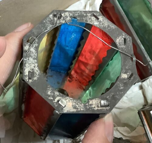 EXTRAORDINARY ANTIQUE 1800's ANTIQUE GERMAN STAINED GLASS CANDLE LANTERN