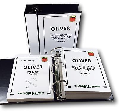 Oliver 770 880 Tractor Service Repair Manual Parts Catalog Workshop Book Set