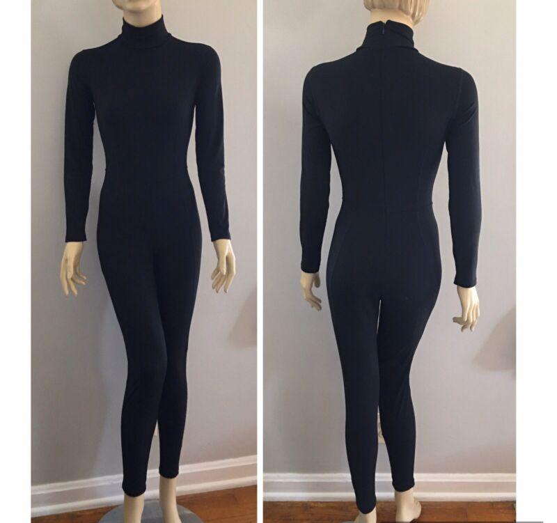 Vtg LIMITED Sport USA Black Spandex Dance Workout Aerobics Unitard Suit XS/S