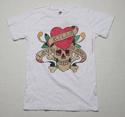 Ed hardy Love Kills Slowly Pedrería Camiseta (S) Blanco CR21161