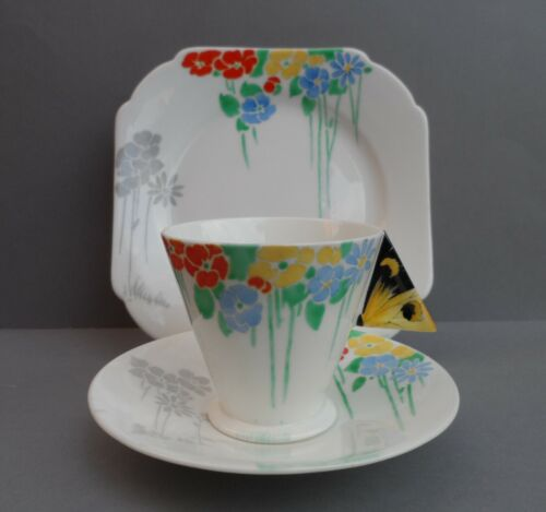 "A superb Shelley Art Deco ""Butterfly Handle"" 11757 Mode shape tea trio. C.1930."